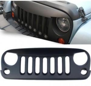 2007-2016 Jeep Wrangler JK Matte Black Angry Bird Sport Front Hood Grille